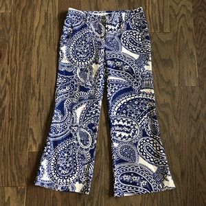 Lilly Pulitzer Blue Paisley Print Flare Pants